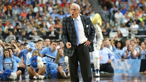 North Carolina coach Roy Williams prowls the sideline.