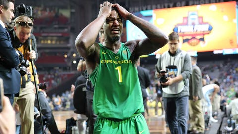 Oregon's Jordan Bell reacts in anguish after the Ducks' loss.