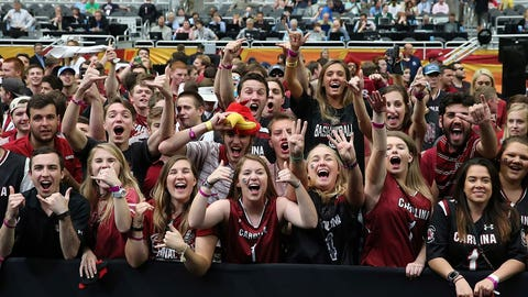 South Carolina fans cheer on the Gamecocks.
