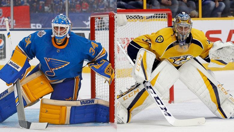 Blues-Predators features goalie showdown of Allen vs. Rinne