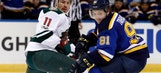 Blues on verge of sweep of Wild with nary a goal from Tarasenko