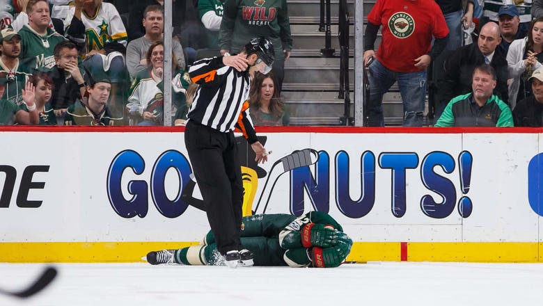 Wild's Staal concussed from crash into boards