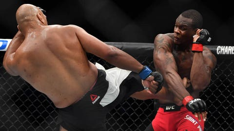 Apr 22, 2017; Nashville, TN, USA;  Ovince Saint Preux (red gloves) fights Marcos Rogerio De Lima (blue gloves) during UFC Fight Night at Bridgestone Arena. Mandatory Credit: Christopher Hanewinckel-USA TODAY Sports