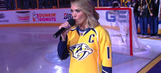 Carrie Underwood performed the national anthem prior to Predators playoff game