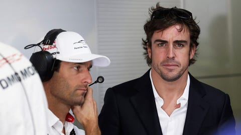 (From left) Mark Webber pictured with Fernando Alonso at the 2014 24 Hours of Le Mans. (Photo: Sam Bloxham/LAT Photographic)