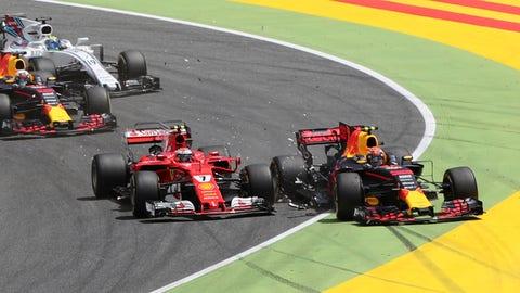 Kimi Raikkonen and Max Verstappen collided in Turn 1 during the Spanish GP. (AP Photo/Emilio Morenatti)