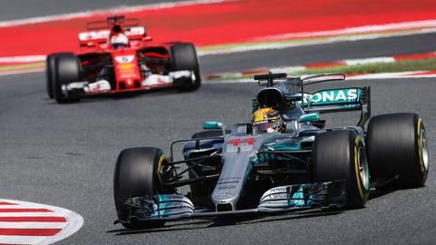 Lewis Hamilton and Sebastian Vettel had a strategic battle going all race long during the Spanish GP. (Photo: Charles Coates/LAT Images)