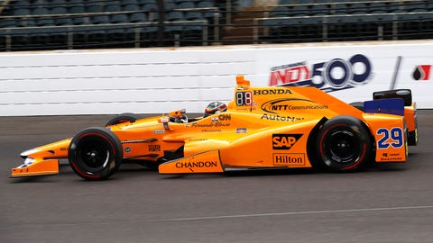 Fernando Alonso will fight for pole position for the Indianapolis 500 on Sunday. (Photo: Michael L. Levitt/LAT Images)
