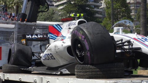 Lance Stroll's car following a crash during Friday afternoon's practice session in Monaco. (Photo: Adam Cooper)