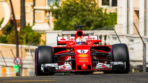 Sebastian Vettel set the fastest time at Monaco on Thursday. (Photo: Charles Coates/LAT Images)