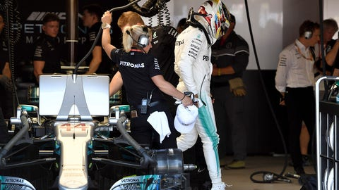 Lewis Hamilton steps out of his car after qualifying. (Andrej Isakovic/Pool Photo via AP)