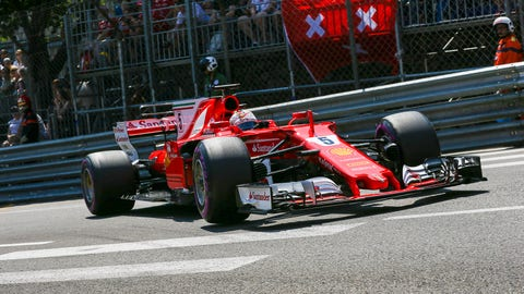 Sebastian Vettel will start second for Sunday's Monaco GP. (Photo: Charles Coates/LAT Images)