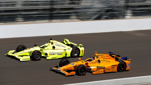 Defending IndyCar champion Simon Pagenaud goes wheel-to-wheel with two-time Formula One World Champion Fernando Alonso in practice. (Photo: Michael L. Levitt/LAT Images)
