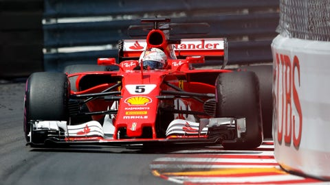 Sebastian Vettel is now a two-time winner at the Monaco GP. (AP Photo/Frank Augstein)