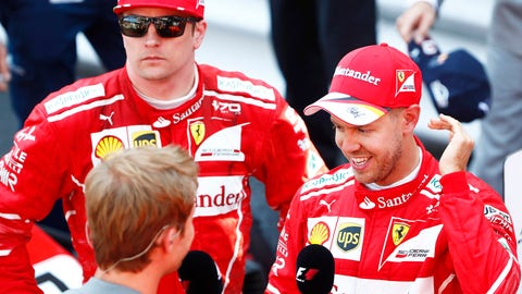 Sebastian Vettel (R) won the Monaco GP while Kimi Raikkonen (L) finished second. (Photo: Sam Bloxham/LAT Images)