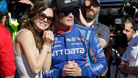 Emma Davies Dixon pictured with husband Scott Dixon during qualifying for the 2017 Indianapolis 500. (AP Photo/Michael Conroy)