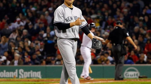 Apr 27, 2017; Boston, MA, USA; New York Yankees starting pitcher Masahiro Tanaka (19) walks off the mound after the seventh inning against the Boston Red Sox at Fenway Park. Mandatory Credit: Winslow Townson-USA TODAY Sports