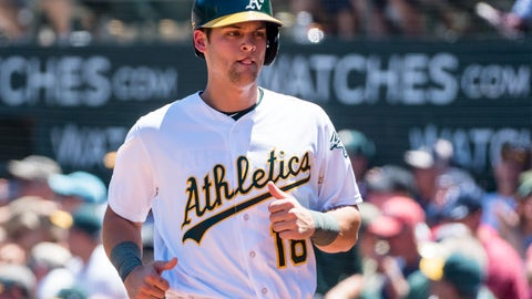 May 20, 2017; Oakland, CA, USA; Oakland Athletics designated hitter Chad Pinder (18) after scoring a run against the Boston Red Sox during the second inning at Oakland Coliseum. Mandatory Credit: Kelley L Cox-USA TODAY Sports