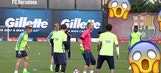 Messi nutmegs his own teammate in training