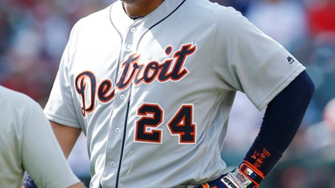 Detroit Tigers' Miguel Cabrera (24) comes out of the game after being injured against the Cleveland Indians during the eighth inning in a baseball game, Sunday, April 16, 2017, in Cleveland. The Tigers won 4-1. (AP Photo/Ron Schwane)