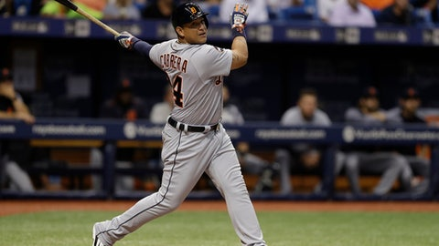 FILE - In this April 18, 2017, file photo, Detroit Tigers' Miguel Cabrera bats against the Tampa Bay Rays during the third inning of a baseball game in St. Petersburg, Fla. Detroit manager Brad Ausmus says he expects Cabrera to come off the disabled list on Tuesday, May 2, 2017, to play Cleveland. (AP Photo/Chris O'Meara, File)