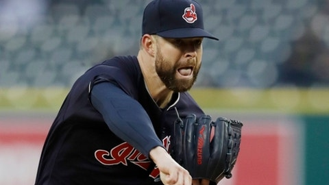 Cleveland Indians starting pitcher Corey Kluber throws during the first inning of a baseball game against the Detroit Tigers, Tuesday, May 2, 2017, in Detroit. (AP Photo/Carlos Osorio)