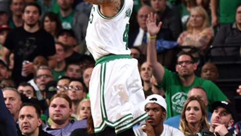 BOSTON, MA - MAY 2: Isaiah Thomas #4 of the Boston Celtics shoots the ball during the game against the Washington Wizards during Game Two of the Eastern Conference Semifinals of the 2017 NBA Playoffs on May 2, 2017 at the TD Garden in Boston, Massachusetts.  NOTE TO USER: User expressly acknowledges and agrees that, by downloading and or using this photograph, User is consenting to the terms and conditions of the Getty Images License Agreement. Mandatory Copyright Notice: Copyright 2017 NBAE  (Photo by Brian Babineau/NBAE via Getty Images)