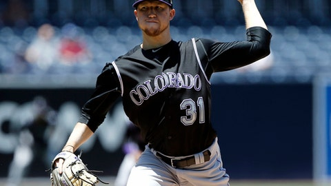 Colorado Rockies starting pitcher Kyle Freeland throws to the plate during the first inning of a baseball game against the San Diego Padres in San Diego, Thursday, May 4, 2017. (AP Photo/Alex Gallardo)
