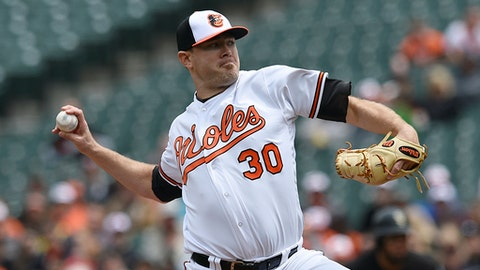Baltimore Orioles pitcher Chris Tillman delivers against the Chicago White Sox during the first inning of a baseball game, Sunday, May 7, 2017, in Baltimore. (AP Photo/Gail Burton)