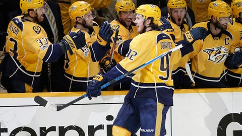 Predators take Game 1 in OT on goal off Corey Perry