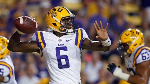 LSU quarterback Brandon Harris (6) passes in the first half of an NCAA college football game against Jacksonville State in Baton Rouge, La., Saturday, Sept. 10, 2016. (AP Photo/Gerald Herbert)