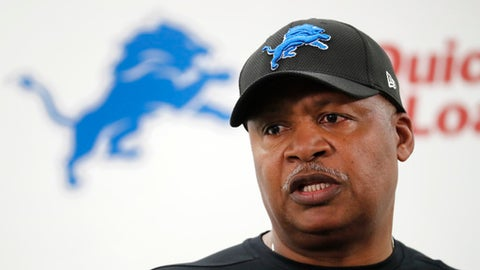 Detroit Lions head coach Jim Caldwell speaks before the teams NFL football rookie minicamp in Allen Park, Mich., Friday, May 12, 2017. (AP Photo/Paul Sancya)