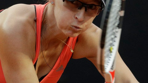Mirjana Lucic-Baroni, of Croatia, returns the ball to Maria Sharapova, of Russia, during the Italian Open tennis tournament, in Rome, Tuesday, May 16, 2017. (AP Photo/Andrew Medichini)