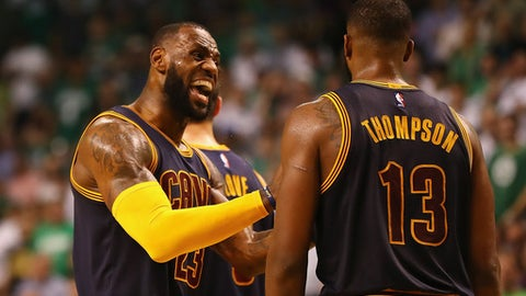 BOSTON, MA - MAY 17:  LeBron James #23 reacts with Tristan Thompson #13 of the Cleveland Cavaliers in the second half against the Boston Celtics during Game One of the 2017 NBA Eastern Conference Finals at TD Garden on May 17, 2017 in Boston, Massachusetts. NOTE TO USER: User expressly acknowledges and agrees that, by downloading and or using this photograph, User is consenting to the terms and conditions of the Getty Images License Agreement.  (Photo by Elsa/Getty Images)