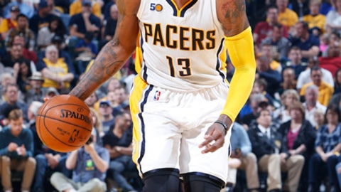 INDIANAPOLIS, IN - APRIL 23: Paul George #13 of the Indiana Pacers handles the ball against the Cleveland Cavaliers in Game Four of the Eastern Conference Quarterfinals during the 2017 NBA Playoffs at Bankers Life Fieldhouse on April 23, 2017 in Indianapolis, Indiana. The Cavaliers defeated the Pacers 106-102 to sweep the series 4-0. NOTE TO USER: User expressly acknowledges and agrees that, by downloading and or using the photograph, User is consenting to the terms and conditions of the Getty Images License Agreement. (Photo by Joe Robbins/Getty Images)