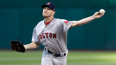 Boston Red Sox starting pitcher Chris Sale throws to the Oakland Athletics during the first inning of a baseball game Friday, May 19, 2017, in Oakland, Calif. (AP Photo/Marcio Jose Sanchez)