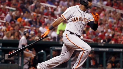 San Francisco Giants' Denard Span follows through on an RBI single during the seventh inning of a baseball game against the St. Louis Cardinals on Friday, May 19, 2017, in St. Louis. (AP Photo/Jeff Roberson)