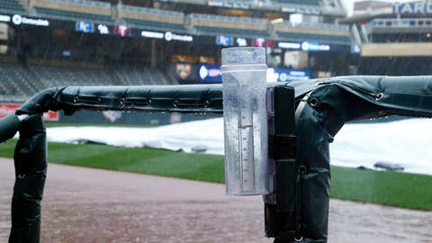 A water collects in a rain gauge at Target Field as rain forced the postponement of a baseball game between the Minnesota Twins and the Kansas City Royals, Saturday, May 20, 2017, in Minneapolis. The game will be made up in a doubleheader on Sunday. (AP Photo/Jim Mone)
