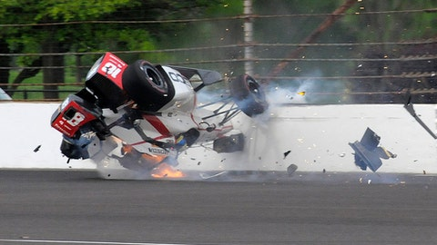 The car driven by Sebastien Bourdais, of France, impacts the wall in the second turn during qualifications for the Indianapolis 500 IndyCar auto race at Indianapolis Motor Speedway, Saturday, May 20, 2017 in Indianapolis. (AP Photo/Greg Huey)
