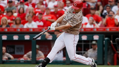 Cincinnati Reds' Scott Schebler hits a go-ahead three-run home run off Colorado Rockies relief pitcher Mike Dunn in the sixth inning of a baseball game, Saturday, May 20, 2017, in Cincinnati. (AP Photo/John Minchillo)