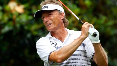 Bernhard Langer, of Germany, watches his tee shot on the second tee during the Regions Tradition PGA Tour Champions golf tournament, Sunday, May 21, 2017, in Birmingham, Ala. (Photo/Butch Dill)