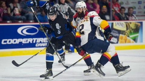 Saint John Sea Dogs defenseman Thomas Chabot tries to get past Erie Otters defenseman Mitchell Byrne during first period Memorial Cup round robin hockey action in Windsor, Ontario, Monday, May 22, 2017. (Adrian Wyld/The Canadian Press via AP)