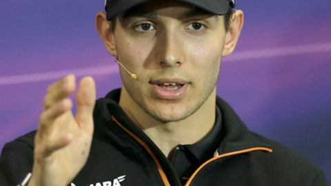 Force India driver Esteban Ocon of France, right, speaks with medias, during a press conference prior to the Formula One Grand Prix at the Monaco racetrack, in Monaco, Wednesday, May 24, 2017. The Formula One race will be held on Sunday. (AP Photo/Claude Paris)