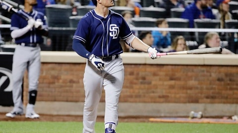 San Diego Padres' Hunter Renfroe watches a ball hi hit for a home run during the eighth inning of a baseball game against the New York Mets Wednesday, May 24, 2017, in New York. The Mets won 6-5. (AP Photo/Frank Franklin II)