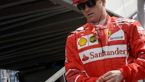 Ferrari driver Kimi Raikkonen of Finland arrives for the first free practice during the Formula One Grand Prix at the Monaco racetrack in Monaco, Thursday, May 25, 2017. The Formula one race will be held on Sunday.. (AP Photo/Claude Paris)