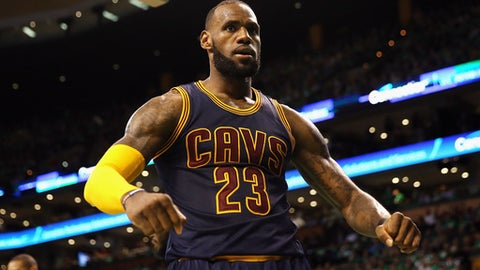BOSTON, MA - MAY 25:  LeBron James #23 of the Cleveland Cavaliers celebrates his dunk in the third quarter against the Boston Celtics during Game Five of the 2017 NBA Eastern Conference Finals at TD Garden on May 25, 2017 in Boston, Massachusetts. NOTE TO USER: User expressly acknowledges and agrees that, by downloading and or using this photograph, User is consenting to the terms and conditions of the Getty Images License Agreement.  (Photo by Elsa/Getty Images)