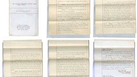 These undated images provided by Lelands.com, shows pages of the New York Yankees' copy of the 1919 agreement between the Yankees and Boston Red Sox for baseball player Babe Ruth. The 1919 sale of Ruth from the Red Sox to Yankees contract headlines Lelands.com 1st Annual Invitational Auction, which closes June 30.  (Michael Pascucci/Lelands.com via AP)