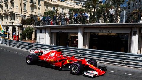 Ferrari driver Kimi Raikkonen of Finland steers his car during the free practice for the Formula One Grand Prix at the Monaco racetrack in Monaco, Saturday, May 27, 2017. The Formula one race will be held on Sunday. (AP Photo/Frank Augstein)