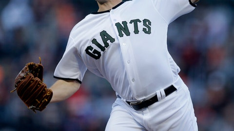 San Francisco Giants pitcher Ty Blach works against the Atlanta Braves in the first inning of a baseball game Saturday, May 27, 2017, in San Francisco. (AP Photo/Ben Margot)