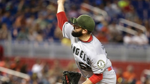 Los Angeles Angels starting pitcher Matt Shoemaker delivers during the first inning of an interleague baseball game against the Miami Marlins, Sunday, May 28, 2017, in Miami. (AP Photo/Lynne Sladky)